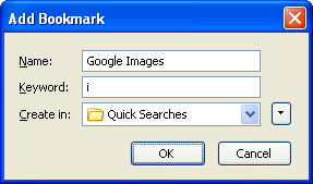 Adding a quick search for Google Images in Firefox - step two