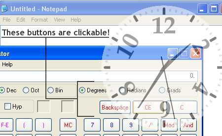 Demonstrating the click-through function