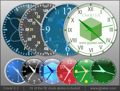 Clock 2.3 - 10 of the 50 included skins